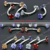 Internal Thread Square Zircon Stainless Steel Eyebrow Curved Barbells Body Piercing Rings [SS-E391]
