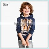 Printed design jersey-lined hood ribbed cuffs kids cotton Hooded Sweatshirt