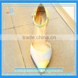 Ice cream color sweet girls summer sandals ankle strip low heel girls dating shoes soft girls dress shoes