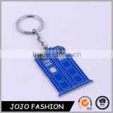Blue Enamel Police Box Keychain For Mens United Kingdom TV Jewelry Key Chains Ring