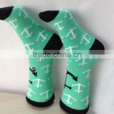 Small MOQ Hot Selling Best Quality Wholesale Young Girls Summer Spear Design Blue Crew Socks