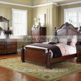 Romanti Wooden hand carved European style Fancy Classical canopy bedroom furniture set,king bed, wedding furniture