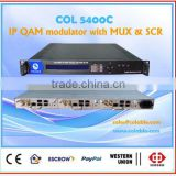 IP TV Solution headend cable tv modulator multichannel 8 in 1,24 in 1 digital rf modulator COL5400C