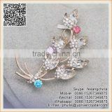 Party Women Dress Crystal Flower Bouquet Brooch Big Diamond Leaf Brooch