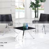 TB modern cheap small Corner table stainless steel black glass corner table