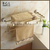 Western unique design Printing flower Zinc alloy and Ceramic Polished Gold Bathroom sanitary items Bathroom towel rack