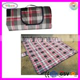 E032 Water Resistant Large Outdoor Picnic Camping Blanket Mat Gray Plaid Folding Picnic Mat