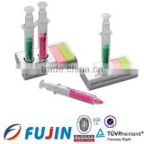 2*1 syringe/injection highlighter with memo and base/Needle cylinder pen/combo highlighter pens made in china