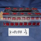 Metal tissue box napkin holder with red riband