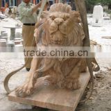 Hand Carved yellow marble Lion Sculpture