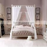 Princess Wonderland Luxury European Style Solid Wood Tufted Bed with Pure White Poster and Canopy BF11-02274e