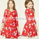 Girls One Piece Dress Wholesale Lovely Puffy Style Trendy 3/4 Sleeves Floral Print Swing Red Simple Design Dress For Girls