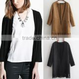 Trendy Faux Suede Tassels Fringe Cardigan Cape Drape Jacket Womens Coat Loose Outerwear Top