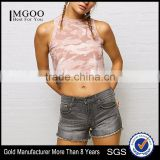 MGOO Hot Product High Neck Curved Hem Pink Camo Tank Top Fitness Women Sleeveless Crop Tops