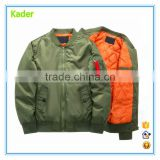China Factory GuangZhou Oem Fashion Button Custom Embroidery Logo Long Sleeve Army Green Men 100% Polyester Bomber Jacket