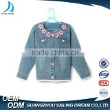 2016 new style loveable pink flower stitched design lace hem kids denim jacket with hood