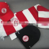 INQUIRY ABOUT Customized logo preppy style red strip knitted fashionable scarf