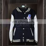 Tailor made High Quality Silk Screen Printing Unisex zip up baseball jacket