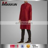 Chian OEM Middle East Hot Sale Islamic Men Red Silk Kurta Clothing Arabic Men's Thobe