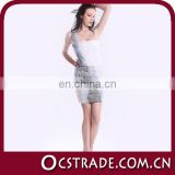2014 one shoulder new short mini cocktail dress beaded white