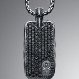 925 Silver Designs Inspired DY  Chevron Black Diamond Dog Tag Men Necklace Image