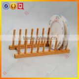 Bamboo kitchen cabinet plate rack with 7 holders