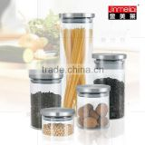 glass cansiter with metal cap,glass storage jars for food,Glass bottle with Stainless Steel Lid ,Borosilicate glass Canister