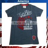 2013 Men's t-shirts 100% cotton round neck t-shirtin Navy color with flock print /embroidered patch