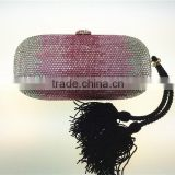 Women HANDMADE multi color crystal diamond evening bags,fashion luxury handbag with tassel