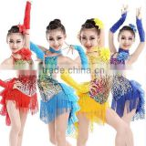 Hot Sexy Fringe red children Latin Dance Dress For Girls Tassel Salsa Kids Ballroom Dresses Tango Costume