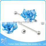 stainless steel wholesale piercing cheap flower unique industrial barbell jewelry