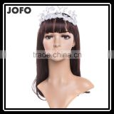 Luxury Beautiful Rhinestone Fabric Flower Headband Tiara with Ribbons Hair Bands SCC0307