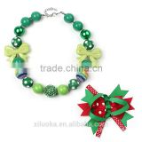 New arrival charm pendant neck bubblegum chunky acrylic baby necklace Christmas gifts jewelry set