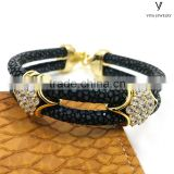 Popular Black stingray Leather bracelet with gold plating over sterling silver inlaid zircon stone