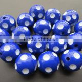 Wholesale Royal blue Chunky Resin Polka dot Beads 24mm ,for Chunky Jewelry Necklace Making