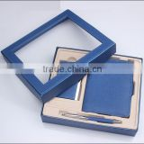 Blue new promotional gift item with names and pocket notebook with pen holder as corporate gift