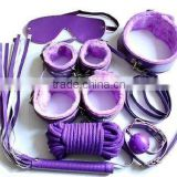 hot sales sex BONDAGE KIT SET 7Pcs collar whip ball handcuffs rope mask Fur Purple sex toy HK072
