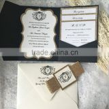gorgeous pocket black letterpress wedding invitation card with glitter belt                                                                         Quality Choice