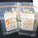 lamination transparent underwear packing plastic zipper bag , clothes packing stand up pouch