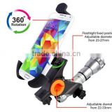 Car phone holder 360 Convenient Bike Mount for Smartphone & Flash light universal cell phone holder BM-06K