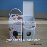 New design washing machine shape tin box with PE handle