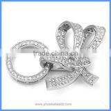 4 Strands 925 Sterling Silver Micro Pave Zircon Bowknot Clasp Fine Jewelry Accessory Necklace Pendant Connector SC-CZ027