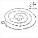Solid 925 Sterling Silver Italian Water Waves Link Chain Necklace for Women