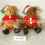 2-colour promotional customized stuffed plush christmas bear animal toy with christmas hat,shirt, purse,boots