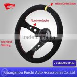 China Supplier for Universal 6-Holed Bolt 350mm Deep Dish Suede Custom Drifting Steering Wheel