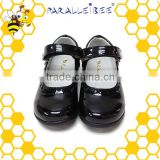 Pig skin and PU leather non slip black healthy student shoes branded shoe