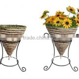 Banana leaf and Corn rope Cone planter wire stand - Wrought iron flower stand