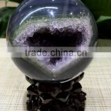 lovely natural agate geode amethyst laughing smile crystal ball sphere