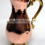 Copper Water Pitcher Jug Hammered