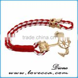 New Design Cheap Custom Jewelry Handmade Multi Color Nylon Nautical Rope Anchor Bracelet for Men
